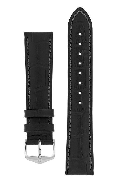 Cinturino per orologio in pelle goffrata alligatore nero