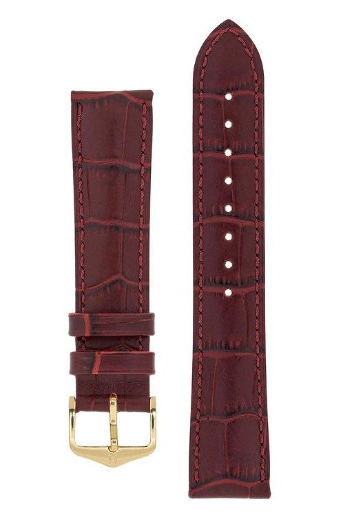 Cinturino per orologio in pelle goffrata alligatore bordeaux