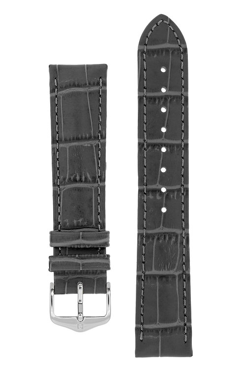 Cinturino per orologio in pelle goffrata alligatore grigio