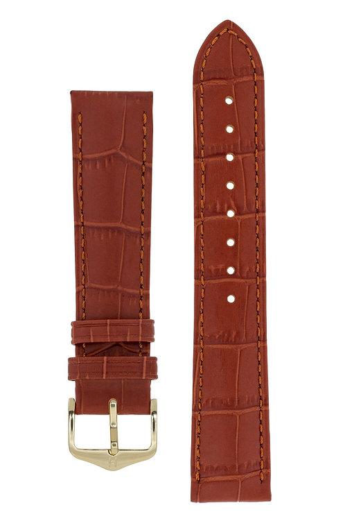 Cinturino per orologio in pelle goffrata alligatore marrone dorato