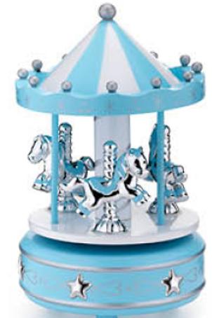 Giostra legno cavalli celeste carillon