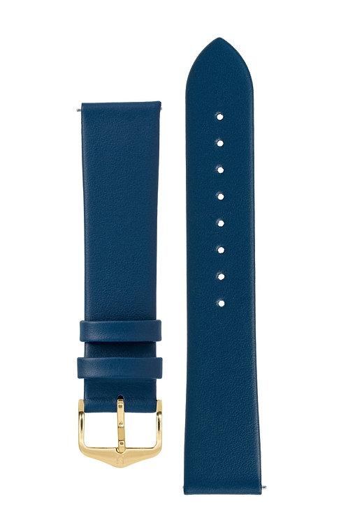 Cinturino per orologio in pelle a grana fine blu
