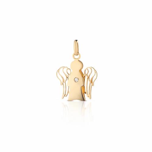 Pendente Angelo Oro Giallo con Diamante PZ644