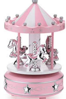 Giostra legno cavalli rosa carillon