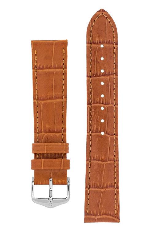 Cinturino per orologio in pelle goffrata alligatore marrone chiaro