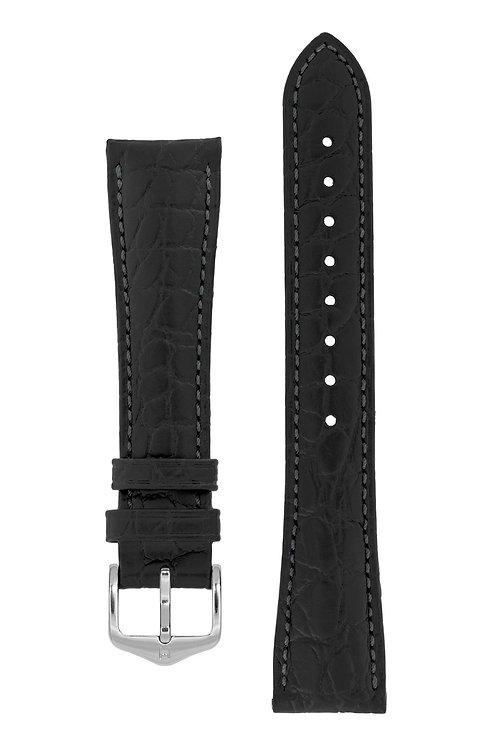 Cinturino per orologio in pelle nero di alta qualità goffrato coccodrillo