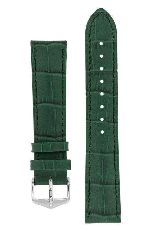 Cinturino per orologio in pelle goffrata alligatore verde