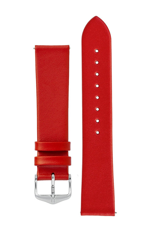 Cinturino per orologio in pelle a grana fine rosso