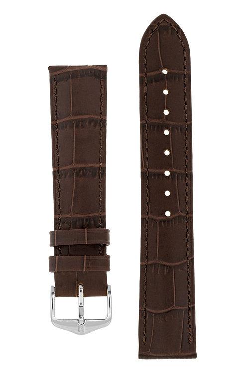 Cinturino per orologio in pelle goffrata alligatore marrone scuro