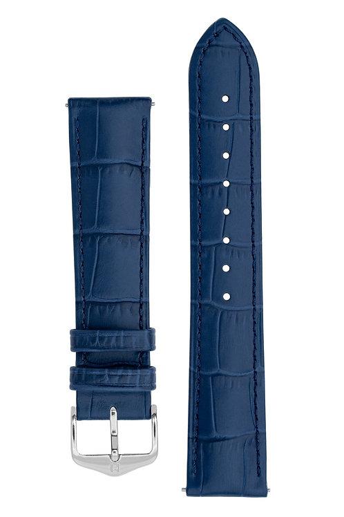 Cinturino per orologio in pelle goffrata alligatore blu