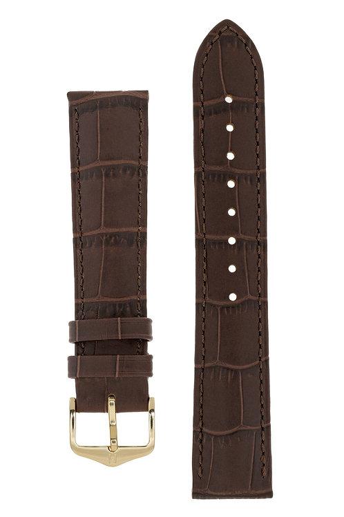 Cinturino per orologio in pelle goffrata alligatore marrone
