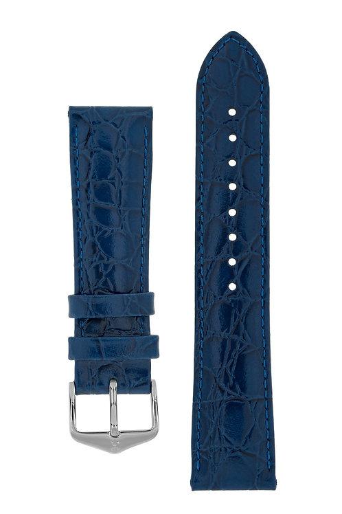Cinturino per orologio in pelle goffrata Coccodrillo blu