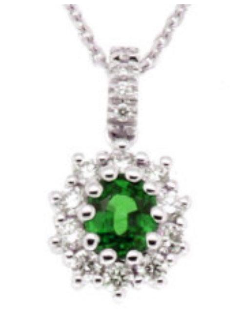 Giorgio Visconti Girocollo in oro bianco, diamanti e smeraldo GB37875S
