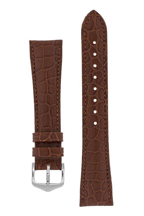 Cinturino per orologio in pelle marrone di alta qualità goffrato coccodril