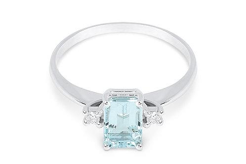 Raggi Anello Acquamarina Ct. 0,80 e diamanti Ct.0,06