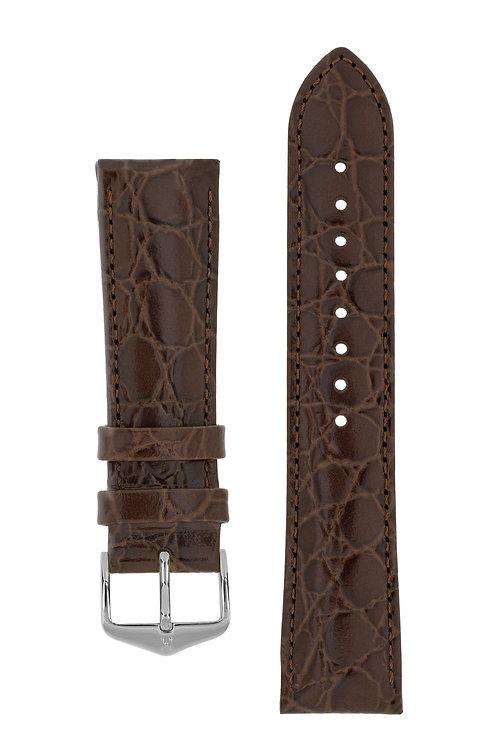Cinturino per orologio in pelle goffrata Coccodrillo marrone