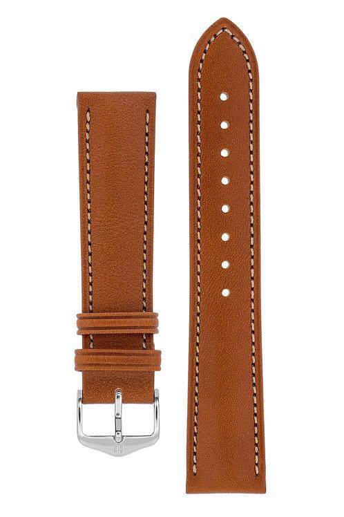Cinturino per orologio in pelle marrone dorato