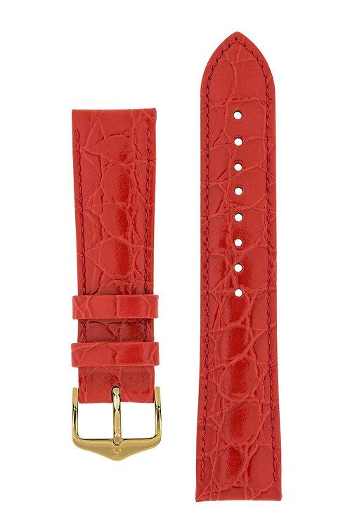 Cinturino per orologio in pelle goffrata Coccodrillo rosso