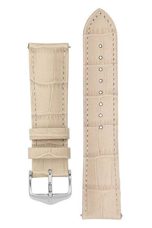 Cinturino per orologio in pelle goffrata alligatore beige