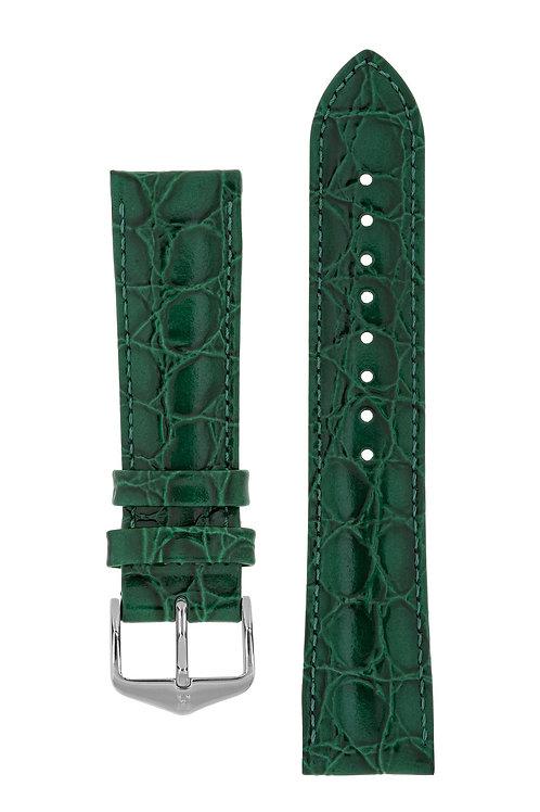 Cinturino per orologio in pelle goffrata Coccodrillo verde
