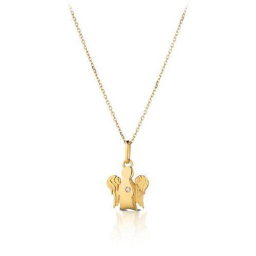 Collana con Angelo in oro giallo e diamante NKT264
