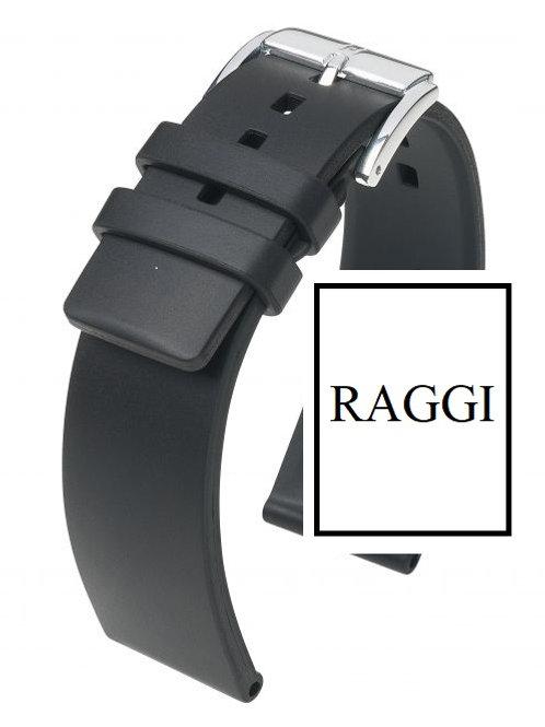 Cinturino Attacco 22 mm. - Caucciù Nero - Fibbia Acciaio