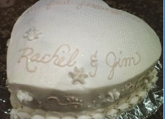 Heart felt farewell cake