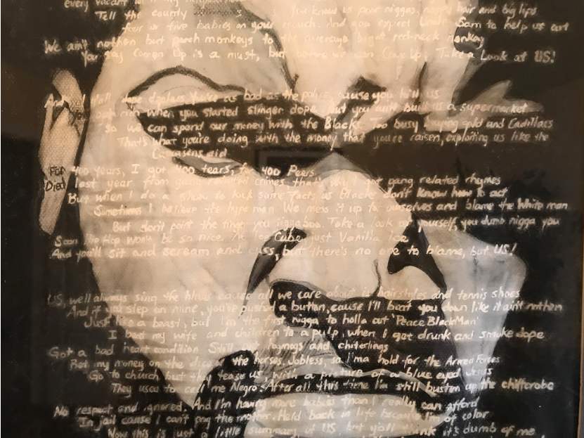 Charcoal of artist w lyrics