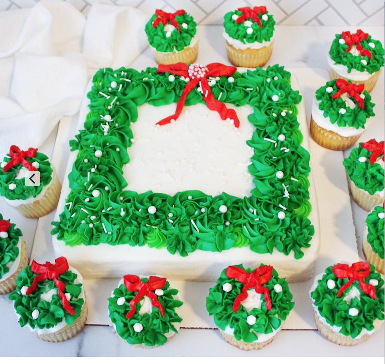Wreath Cupcakes & Cake
