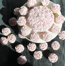 Pale Pink Cake and Cupcakes