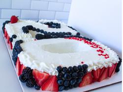 Number Cake w/fresh berries