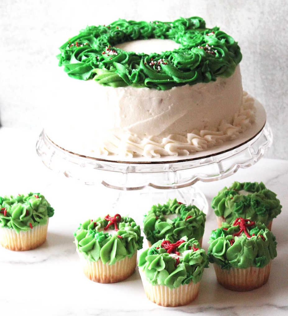Wreath Cake and Cupcakes