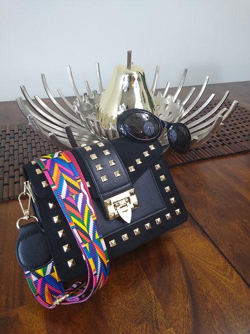 Betty Multi-Color Shoulder Strap Stud Bag Black Vegan Suede/Leather