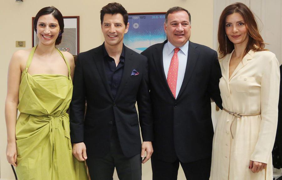 From left - Costumier: Eleni Kyriacou, Singer: Sakis Rouvas, President of HOC: Spyros Capralos, High Priestess: Katerina Lehou