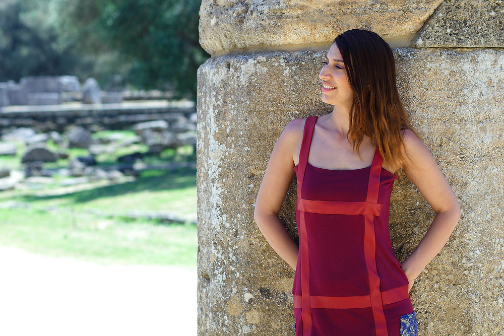 Fashion Designer Eleni Kyriacou at The Temple of Hera, Ancient Olympia