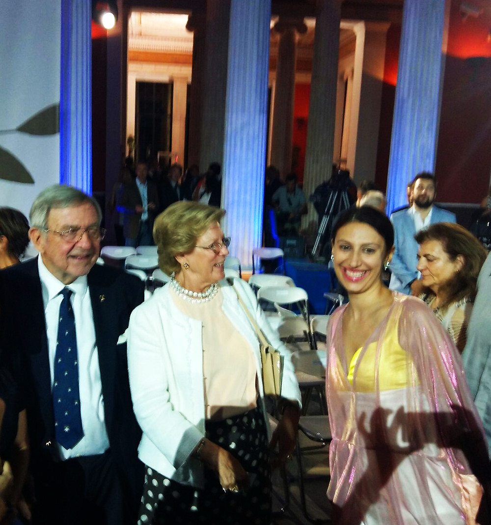 The former King and Queen of Greece and fashion designer Eleni Kyriacou