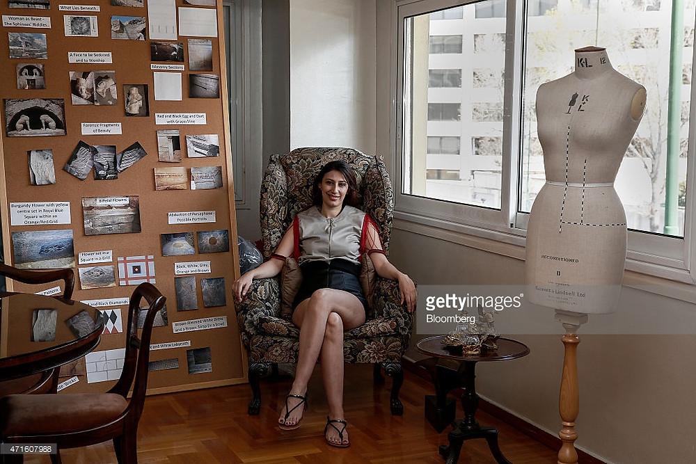 Fashion designer Eleni Kyriacou in her studio for Bloomberg