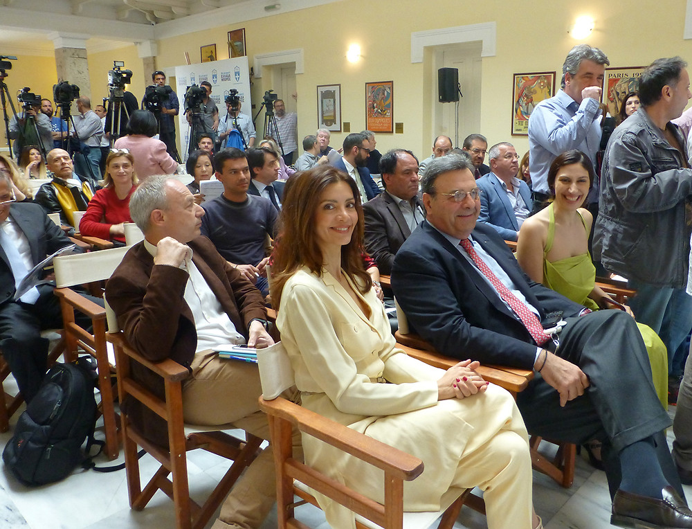 Front row from left -  High Priestess: Katerina Lehou, Isidoros Kouvelos of HOC, Costumier: Eleni Kyriacou,