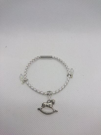 bracelet en cuir avec perle de lune