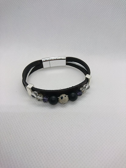 bracelet femme jaspe dalmatien