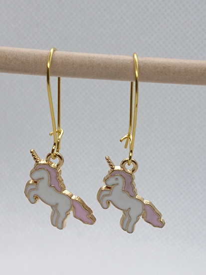 boucles d'oreilles breloque licorne rose