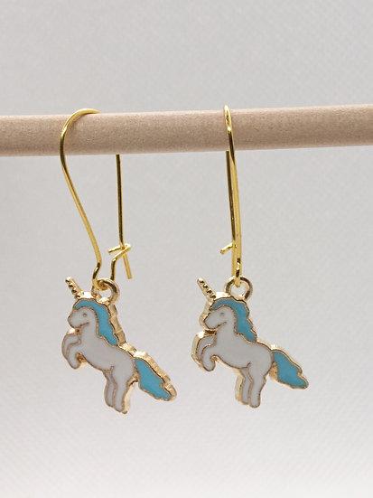 boucles d'oreilles breloque licorne bleu