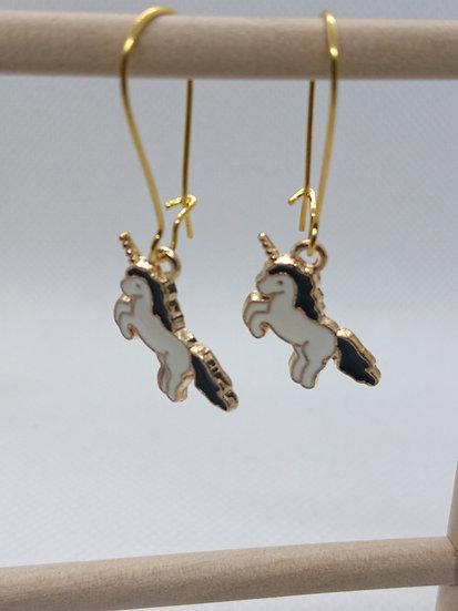 boucles d'oreilles breloque licorne noir