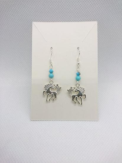 boucles d'oreilles avec breloque cheval et pierre turquoise