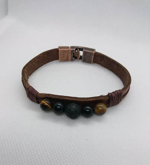 bracelet homme cuir marron avec perles semi-precieuses