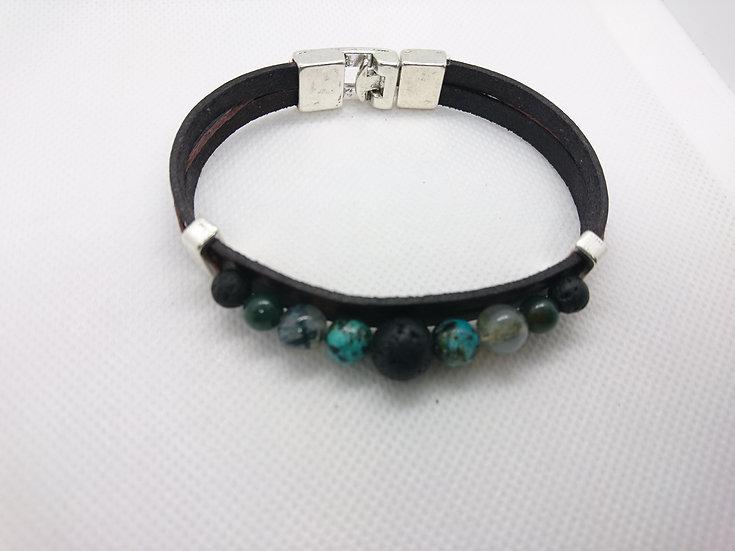 bracelet homme cuir marron foncé avec perles semi-précieuses