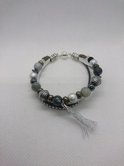 bracelet femme  labradorite pyrite larvykite