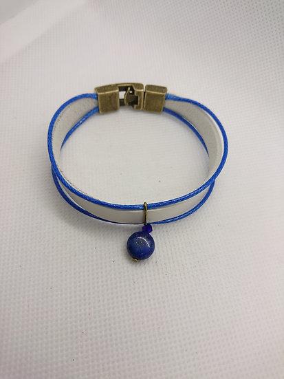 bracelet cuir blanc et lapis lazuli