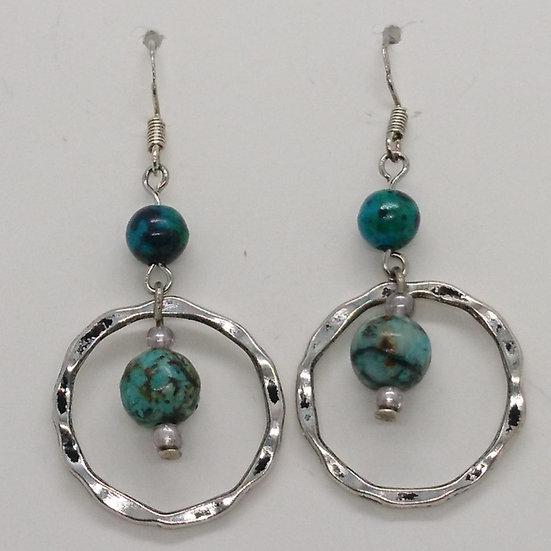 boucles d'oreilles unakite et turquoise