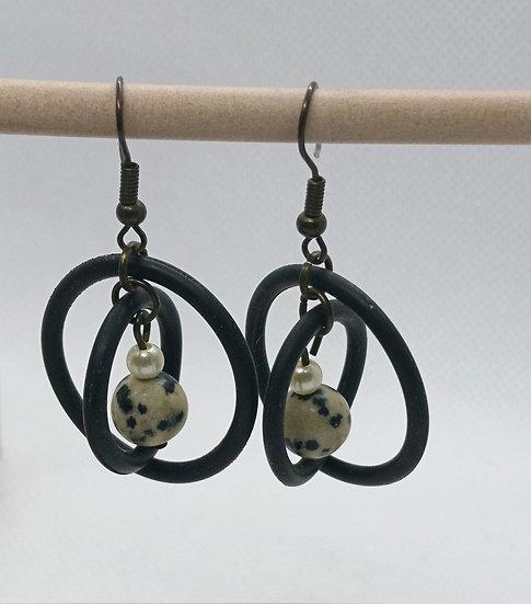Boucles d'oreilles jaspe dalmatien